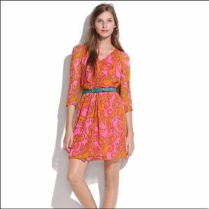 Madewell Pink & Orange Paisley Silk Dress Size 8